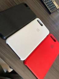 Capa original Apple silicon red e silicon white iPhone 8