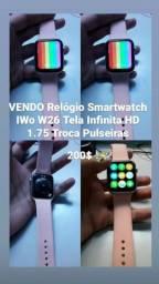 "Relógio Smartwatch IWO 12 Lite W26 Tela Infinita HD 1.75"" Rosa Troca Pulseiras<br><br>"