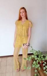Conjunto Feminino Calça E Blusa Em Renda