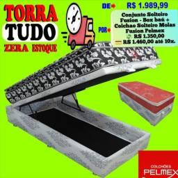 Entrega grátis de Conj de Solteiro Pelmex com box baú e colchão de molas