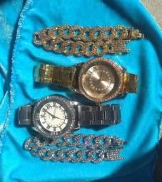 Kit ice craveajado, doursdo, prateado, pulseira, relógio, corrente