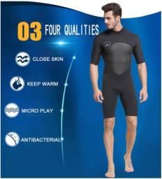 Roupa de neoprene 2mm Short John manga curta com ziper nas costas (NOVA)