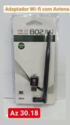Adaptador Usb WIFI com Antena p/PC / Acesse internet sem fio no seu Desktop / Confira