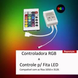 Controladora + Controle p/ Fita Led RGB