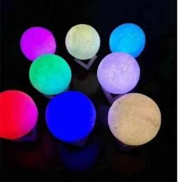 Luminária Lua Cheia 3D 16 Cores Bluetooth Caixa de Som: