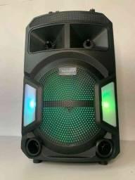 Caixa de Som 2000W Bluetooth ES802 + Microfone sem fio!