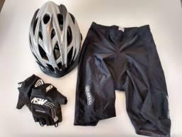 Capacete ciclismo + bermuda Lycra + luva gel