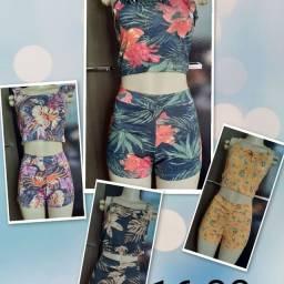 Conjuntos blusinhas e shorts.
