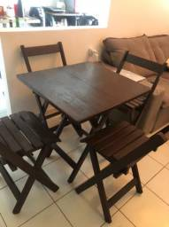 Conjunto mesa dobrável + 4 cadeiras dobráveis Madeira Maciça
