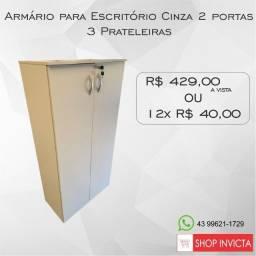 Armário para Escritório alto cinza 3 prateleiras / Novo / NFE