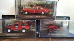 Lote com 3 miniaturas do corpo de bombeiros carros de serviços do Brasil