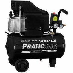 Compressor De Ar 8,2 Pés Schulz Praticair Csa8,2/25 127 ou 220V (Novo)
