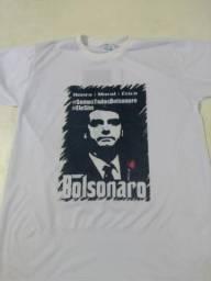 Bolsonaro, 17, capitão, camisa, camiseta. Masculina e feminina. Cor branca e amarela.