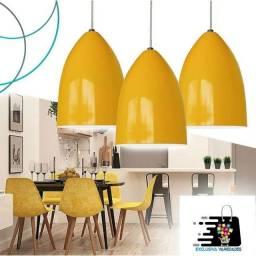 Kit 3 Lustres Pendente de Cone Em Alumínio Amarelo