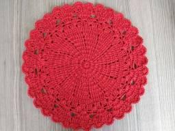 Sousplat de Crochê Corações Vermelho kit com 4 peças Novos