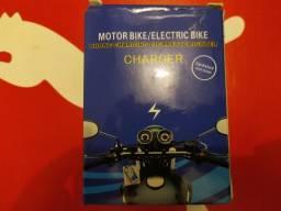 Tomada Usb P/ Moto Carregador Celular GPS + Acendedor Cigarro