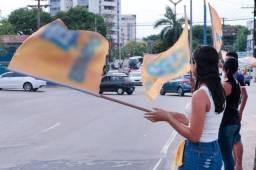 Bandeira candidato politica eleição com haste