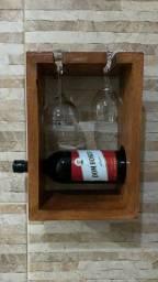 Porta vinho de madeira artesanal ; oferta !!!