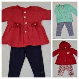 Kit roupas de bebê com 3 Conj. Moletom tamanho M Marca Paraíso, Brandili e Carter`s.