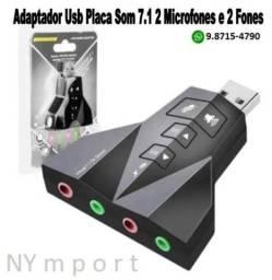 Adaptador Usb Placa De Som 7.1 Para 2 Microfones E 2 Fones