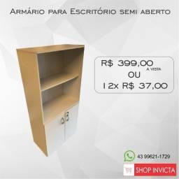 Armário para Escritório semi-aberto Cinza / Novo / NFE