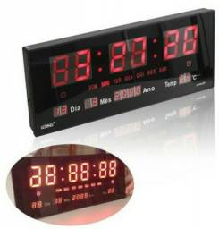 Relógio De Parede LED Digital Alarme Calendário 36cm