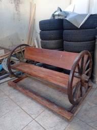 Banco rústico roda de carroça