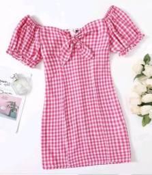 Vestido xadrez rose e branco P