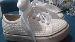 Tênis personalizado para noiva