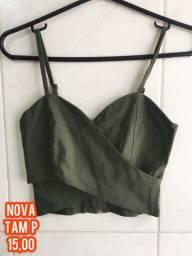Cropped verde militar transpassado NOVO!