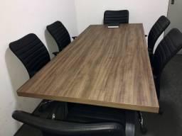 Mesa de reunião 2,00 x 0,90 com 6 cadeiras