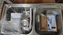 Cuba Dupla Luxo Cozinha (NOVA) - Inox 304 com Acessórios