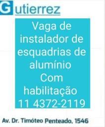vaga instalador de esquadrias de alumínio com habilitação em Guarulhos