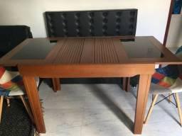 Mesa de jantar tipo elástica com banco