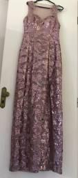 Vestido Rosê bordado em lantejoulas