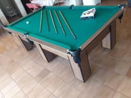 Mesa de Sinuca e Jantar | Mesa Imbuia | Tecido Verde | Modelo: QHFP2417