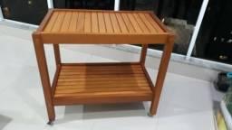 Carrinho apoio churrasqueira de madeira
