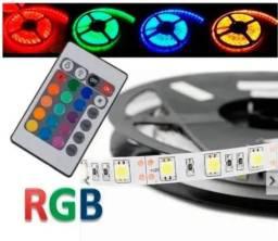 Fita de led Colorida RGB 5050 5m com Proteção IP65 + Central + Controle - Mega Infotech