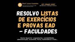 Resoluções de Listas de Exercícios para Engenharias/ Contábil/ ADM/ RH e mais!