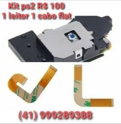 Kit ps2 Novos (1 leitor 1 cabo flat) R$ 100