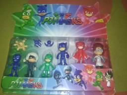 PJ MASKS completo com 3 heróis, 3 vilões e 3 armas
