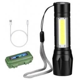 Mini lanterna tática led recarregável mini usb com zoom ecooda ec-6175