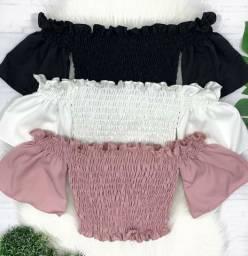 Cropped, short, vestido, macaquinho e conjunto