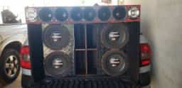 Caixa para 4 alto falantes e corneteira