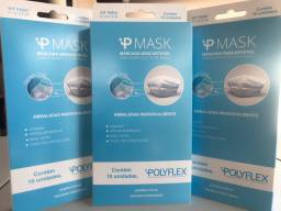 Máscaras descartáveis embaladas individualmente com 10 unidades.