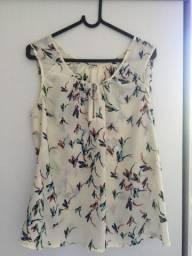 Camisa Tecido Fino Pássaros M - Vendas da Carol