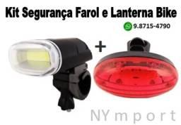 Farol + Pisca Traseiro Iluminação Bike Bicicleta Resistente á Àgua KiT Segurança