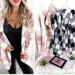 Kimono cardigan tricot xadrez e animal print tam único veste p ao g