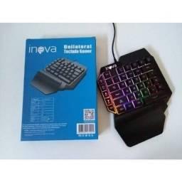 Promoção teclado gamer unilateral com led multicolorido