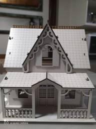Linda casinha de boneca modelo Campo  MDF branco
